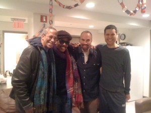 Reg Cathey, Carl Hancock Rux, Roger Guenveur Smith, and Will Power backstage at the Public Theatre